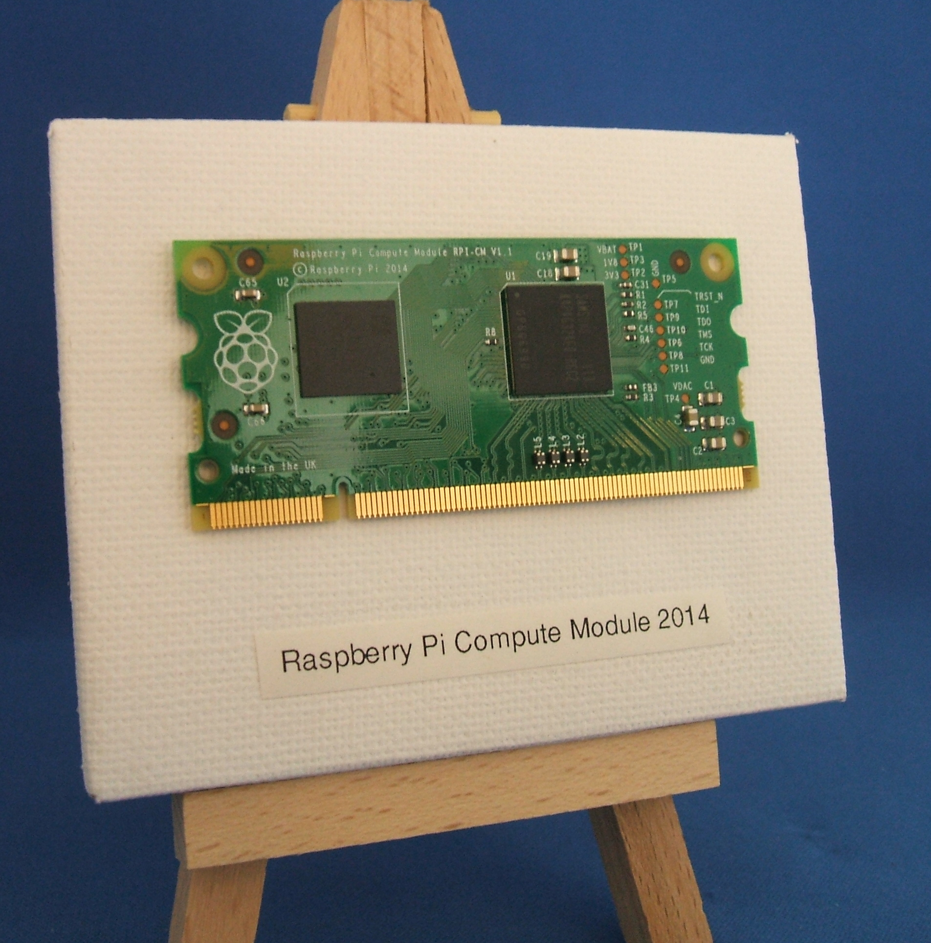 Pi Compute Module on an Easel, titled